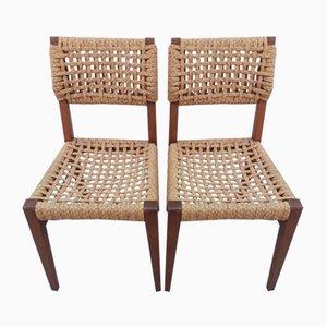Mid-Century Esszimmerstühle aus Seilgeflecht & Holz von Adrien Audoux & Frida Minet für Vibo, 2er Set