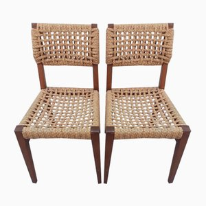 Mid-Century Rope and Wood Dining Chairs by Adrien Audoux & Frida Minet for Vibo, Set of 2