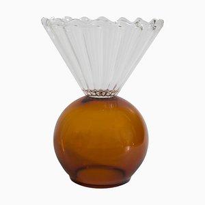 Bernsteinfarbene Vase aus Kristallglas von Natalia Criado
