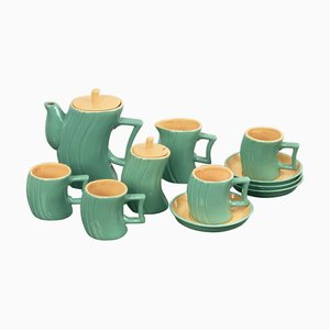 Green Ceramic Tea Service by Massimo Iosa Ghini for Naj Oleari, 1980s