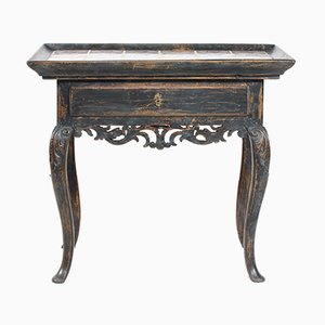 Antique Rococo Painted Wood and Tiles Console Table
