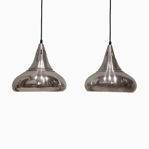 Danish Aluminum Pendant Lamps, 1960s, Set of 2