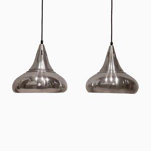 Lámparas colgantes danesas de aluminio, años 60. Juego de 2
