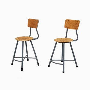 Industrial Stools, 1950s, Set of 2