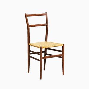 Chaise de Salle à Manger Modèle Superleggera en Frêne et Paille par Gio Ponti pour Cassina, Italie, années 50