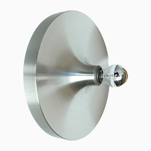 Mid-Century German Brushed Aluminum Sconce from Honsel
