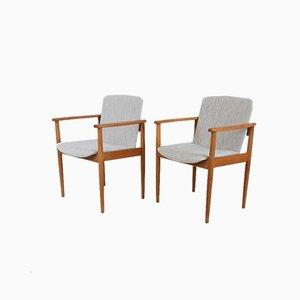 Skandinavische Armlehnstühle aus Birkenholz, 1960er, 2er Set