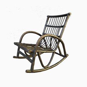 Rocking-chair Vintage en Rotin Noir, années 60