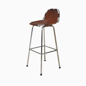 Chrome & Leather Bar Stool by Charlotte Perriand, 1950s