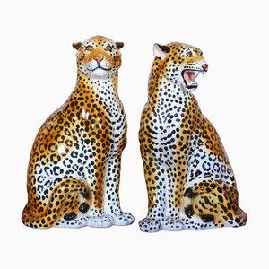 Leoparden Skulpturen aus Keramik, 1950er, 2er Set