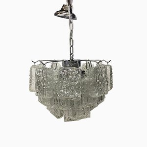 Brick Murano Glass & Chrome Metal Sputnik Chandelier from Italian Light Design