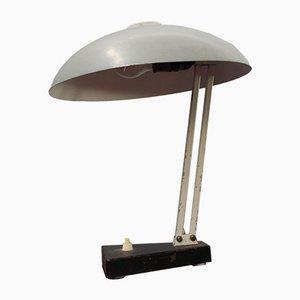 Lámpara de mesa Mid-Century en blanco y gris, años 50