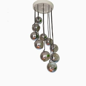 Mid-Century Italian Chrome Cascade Chandelier by Guzzini for Meblo, 1970s