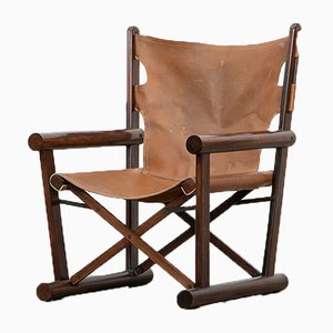 Wooden Folding Chair with Ottoman by Sergio Rodrigues, 1960s