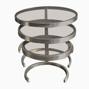 Brushed Metal Nesting Tables, 1970s