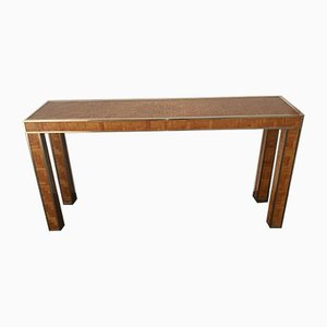 Bamboo and Brass Inlay Console Table, 1960s