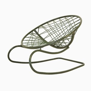 Vintage Green Steel Rocking Chair, 1970s