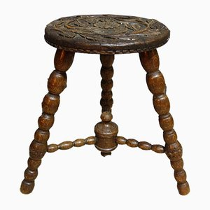 Victorian Carved Bobbin Stool