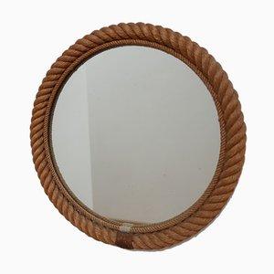 Mid-Century Spiegel mit Rahmen aus Seil, 1970er