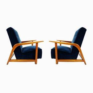Italian Lagoon Blue Velvet Lounge Chairs, 1940s, Set of 2