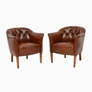 Antique Swedish Buttoned Leather Armchairs, Set of 2