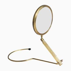 Espejo de mano o de escritorio de latón, años 50