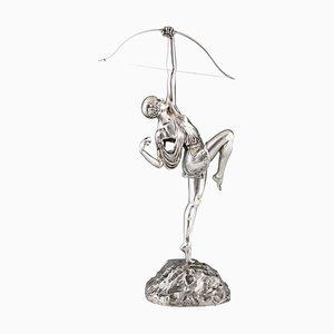 Art Déco Skulptur einer Dame mit Schleife aus versilberter Bronze von Pierre Le Faguays für Susse Freres, 1925