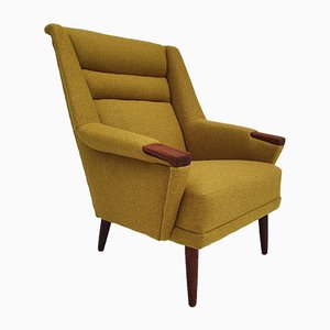 Danish Teak and Wool Armchair, 1970s