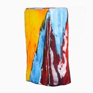Jarrón italiano vintage de cerámica multicolor, años 70