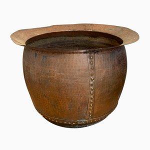Macetero antiguo grande de cobre
