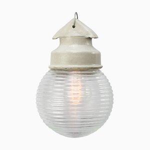 Lampada industriale vintage in porcellana bianca