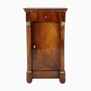 Biedermeier German Walnut Veneer Pillar Cabinet, 1820s