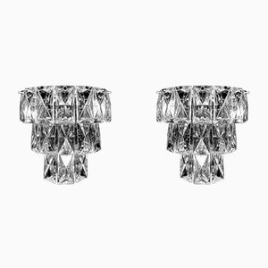 French Cut and Beveled Lead Crystal Sconces, 1930s, Set of 2