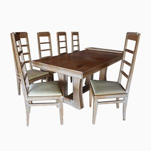 Complete Dining Room Set in Ceruse Oak, 1940s, Set of 8
