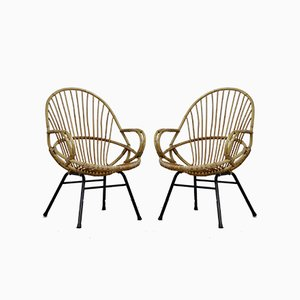 Mid-Century Rattan Lounge Chairs by Rohé Noordwolde, 1960s, Set of 2