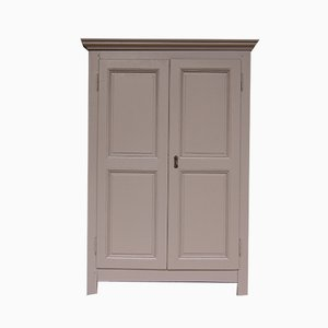 Antique Taupe Solid Oak and Pine Cabinet