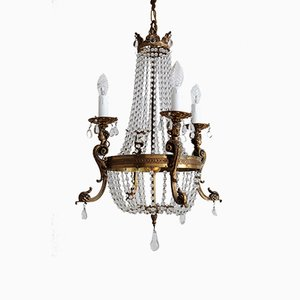 Vintage Italian Bronze and Crystal Chandelier, 1950s