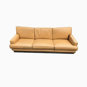Leather and Brushed Steel Sofa by Jacques Charpentier for Roche Bobois, 1970s