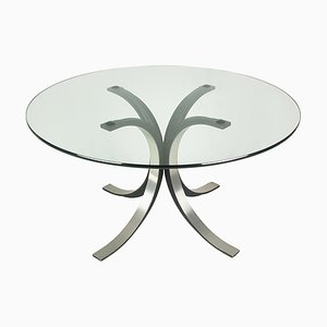 Black and Silver Aluminum and Glass Model T69 Round Dining Table by Osvaldo Borsani for Tecno, 1960s