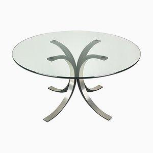 Mesa de comedor modelo T69 redonda de aluminio y vidrio en negro y plateado de Osvaldo Borsani para Tecno, años 60