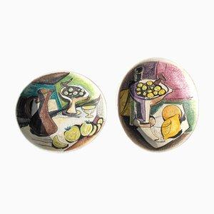 Assiettes Décoratives Ovales en Terracotta de Marcello Fantoni, 1940s, Set de 2