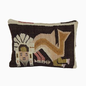 Animal Human Pattern Lumbar Pillow Cover by Vintage Pillow Store Contemporary