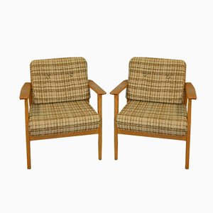 Mid-Century Brown Beige Lounge Chairs, 1960s, Set of 2