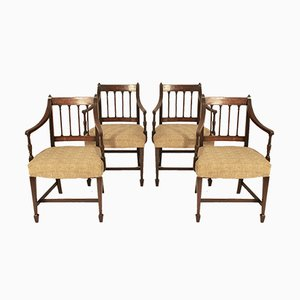 Antique George III Mahogany Dining Chairs, 1790s, Set of 4