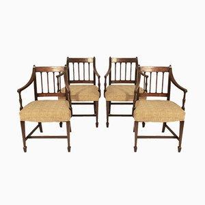 Sedie da pranzo Giorgio III antiche in mogano, fine XVIII secolo, set di 4
