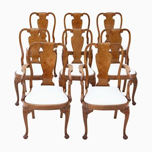 Antique Queen Anne Style Burl Walnut Dining Chairs, Set of 8