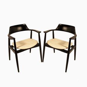 Mid-Century Armlehnstühle mit weißem Bezug aus Skai & schwarz lackiertem Holz von AG, 2er Set