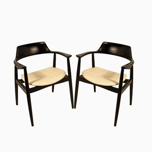 Mid-Century White Skai and Black Lacquered Wood Armchairs from A.G, Set of 2