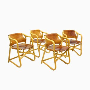Rattan Armchairs, 1970s, Set of 4