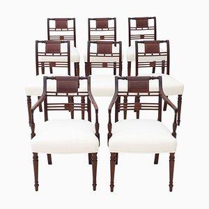 Antike georgianische Esszimmerstühle aus Mahagoni mit Intarsien, 1800er, 8er Set